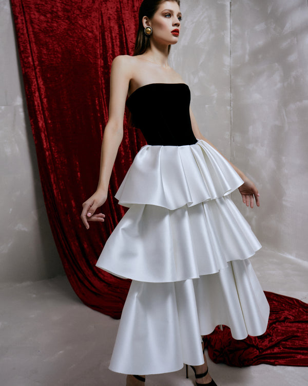 Satin and silk velvet corset midi dress with ruffled skirt