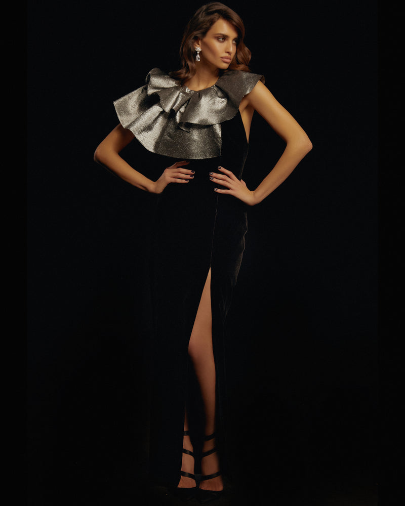 Metallic and silk velvet gown with ruffles