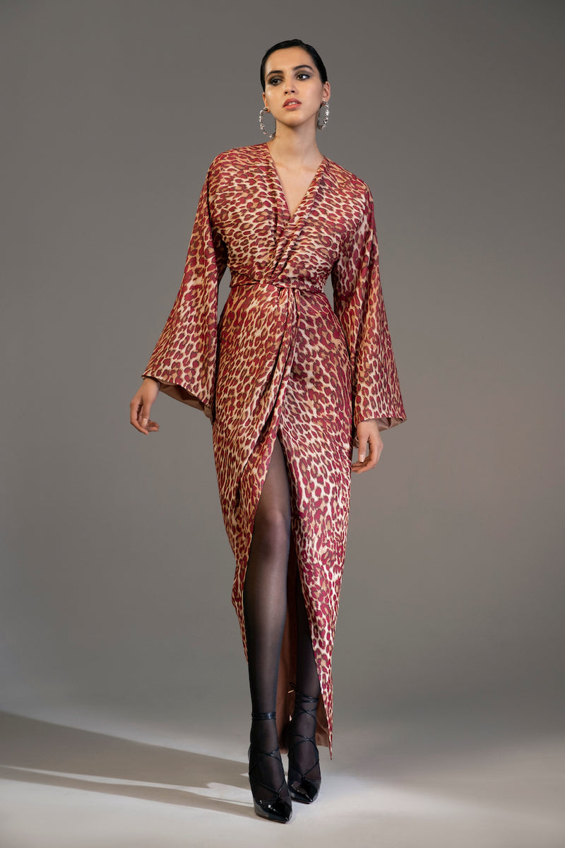 Twisted-Front Leopard-Print Chiffon Gown