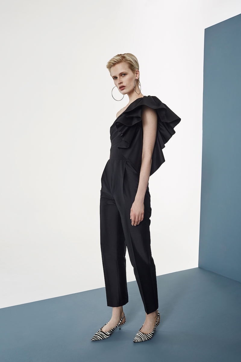 RUFFLED SILK JUMPSUIT