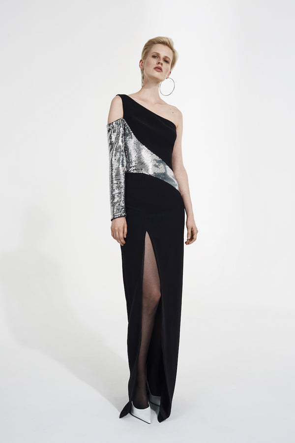 ASYMMETRIC SEQUINED AND CREPE GOWN