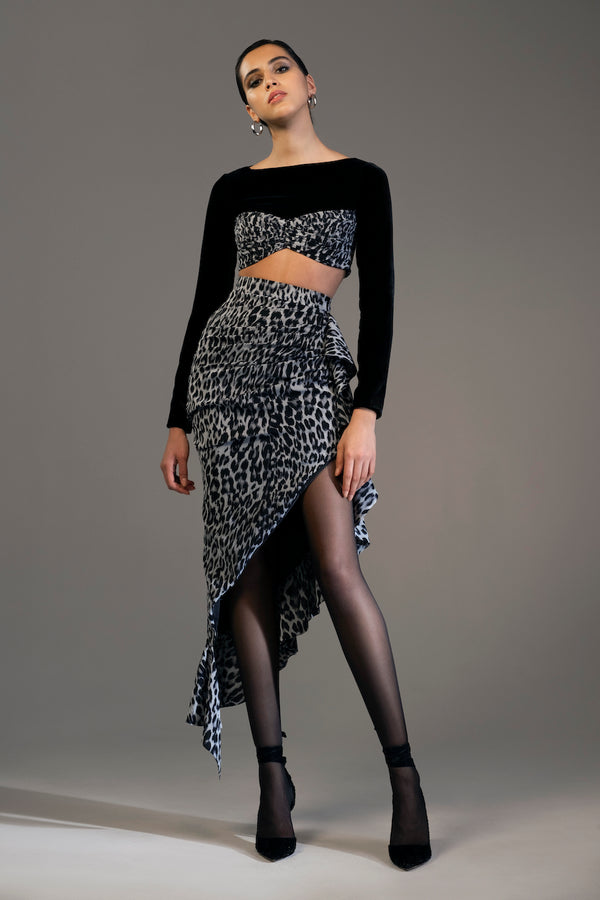Long-sleeve Silk Velvet and Leopard-Print Chiffon Crop-Top