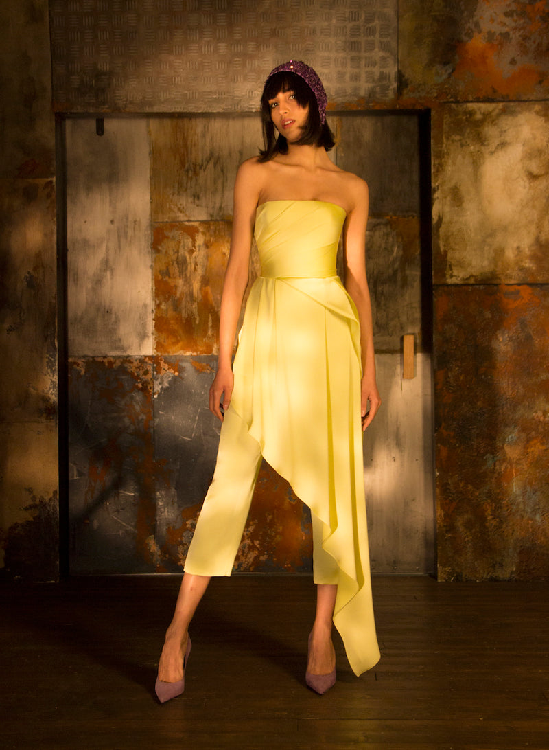 DRAPPED SATIN CORSET JUMPSUIT