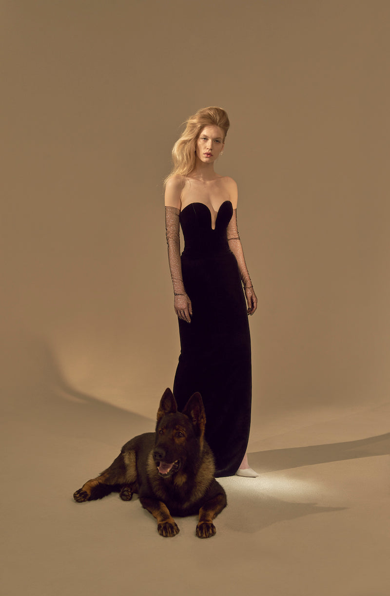 LONG VELVET GOWN WITH A LONG-LINE CORSET TOP