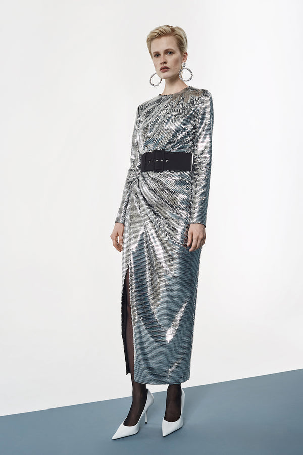 WRAPPED DRAPED SEQUINED MIDI DRESS
