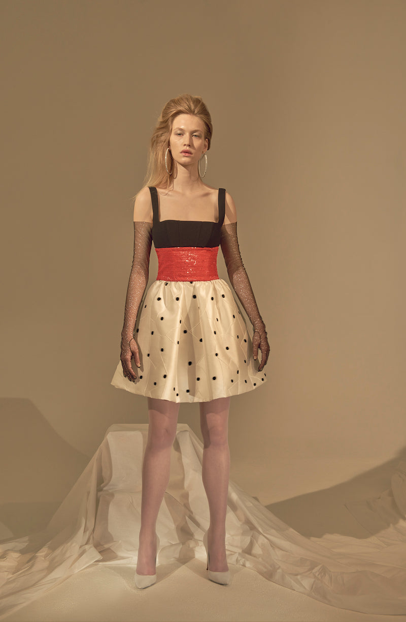 MINI DRESS WITH JACQUARD SKIRT, SEQUIN WAIST AND CREPE TOP