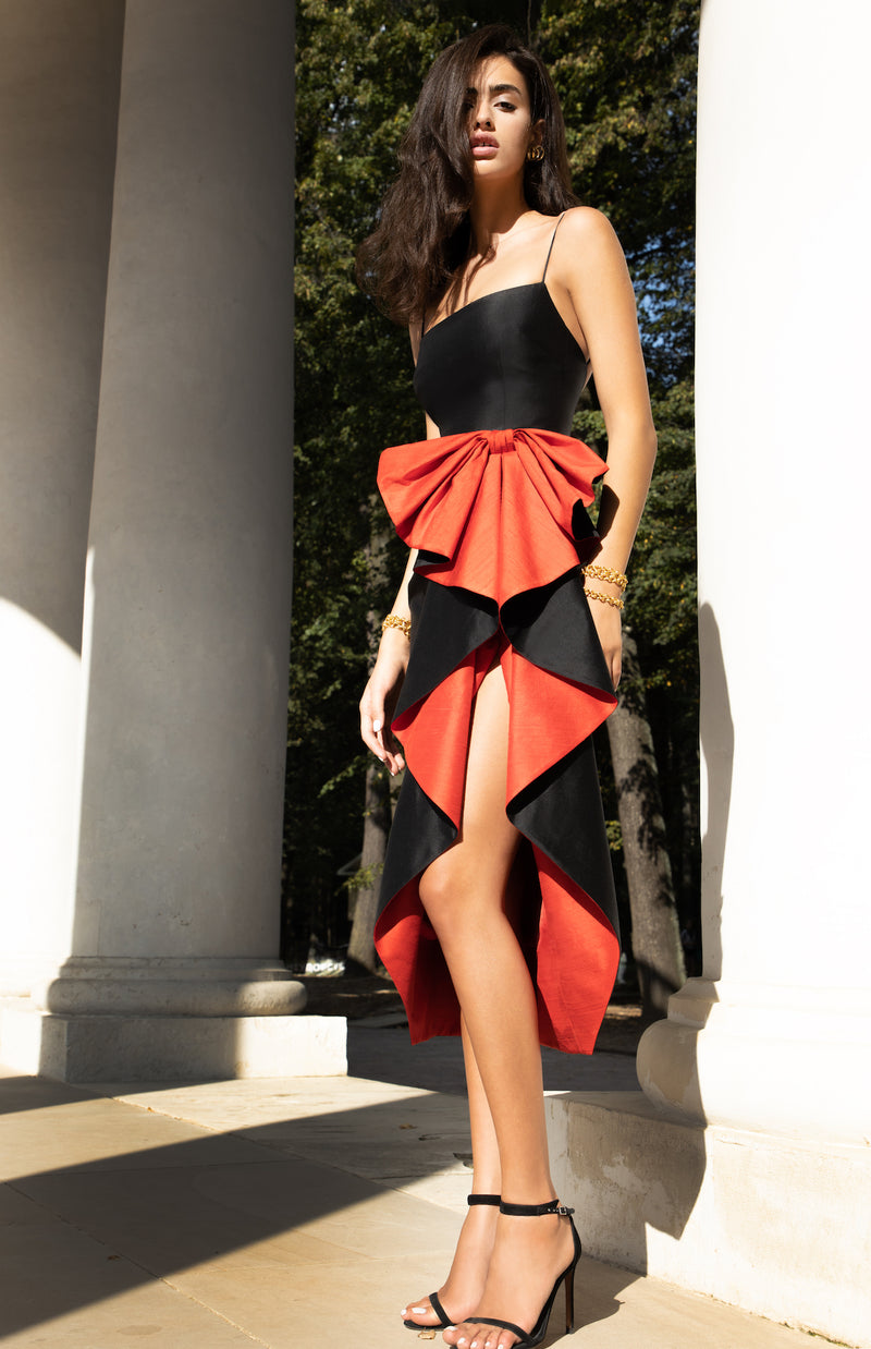 BOW-EMBELLISHED DRAPED SILK MIDI DRESS
