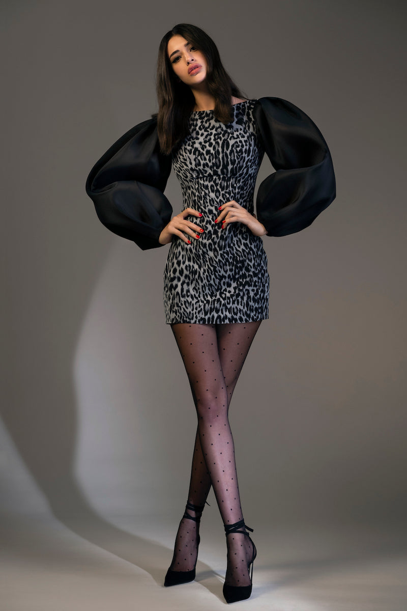 Puff Sleeve Organza and Leopard-Print Chiffon Mini Dress