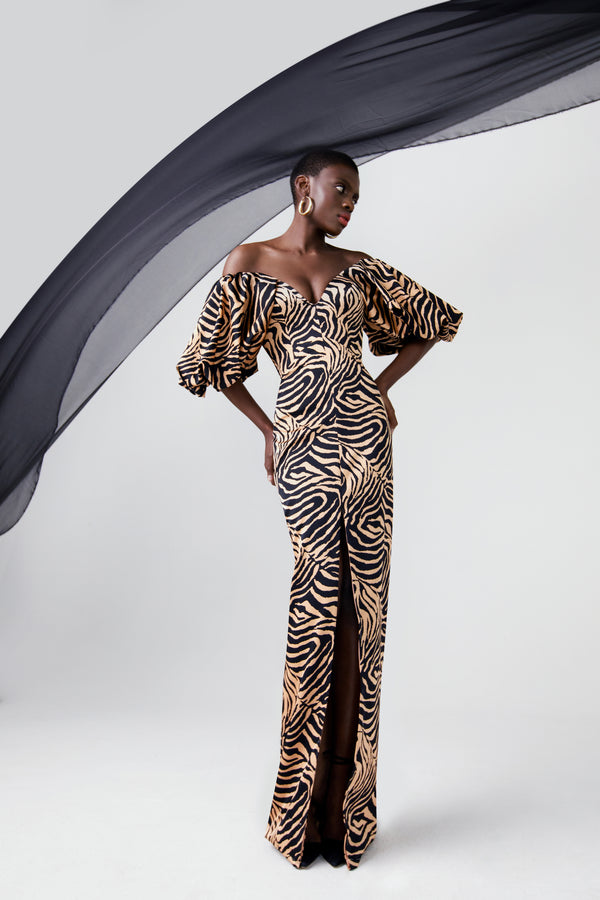 Puff-sleeve zebra-print satin corset maxi dress