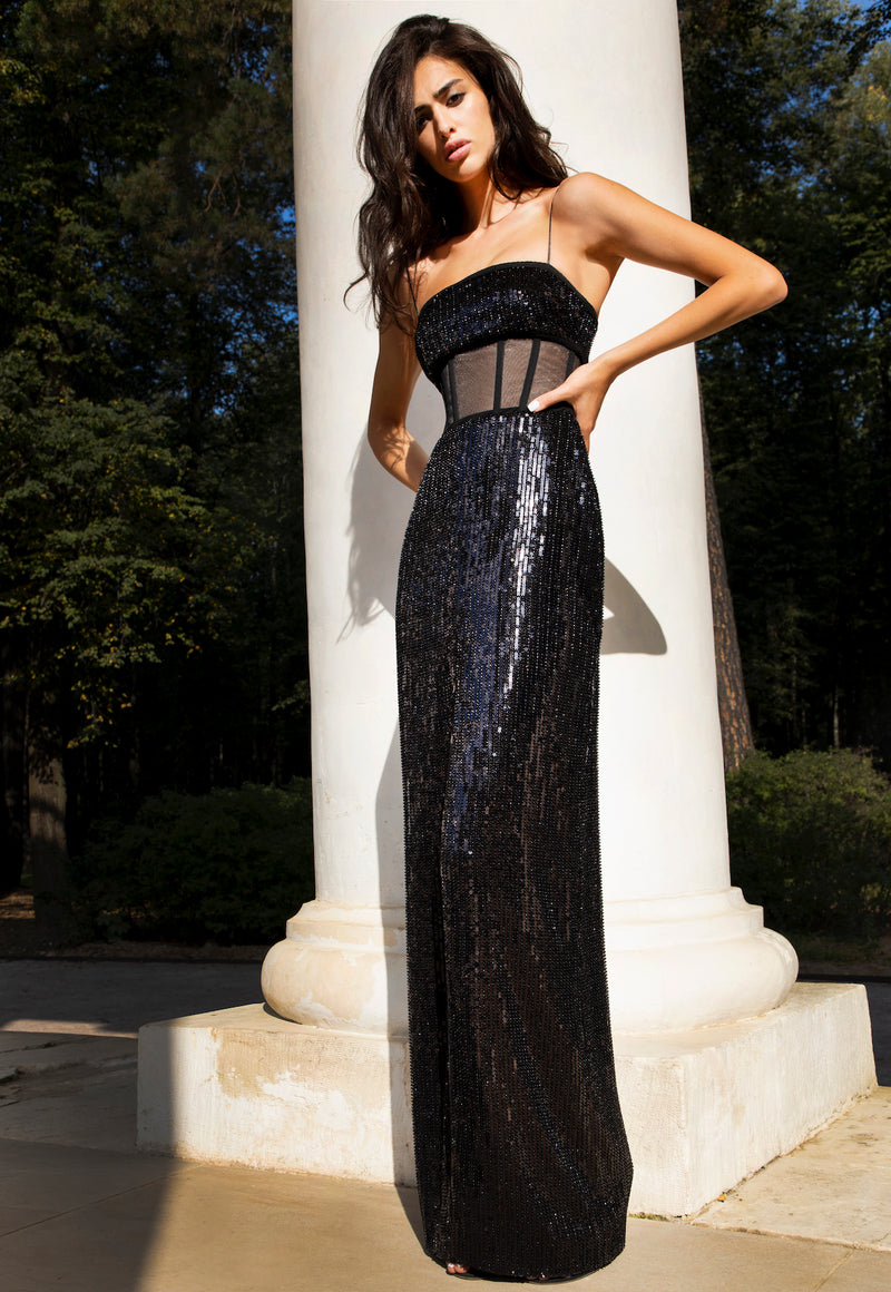 SEQUINED FRONT SLIT GOWN