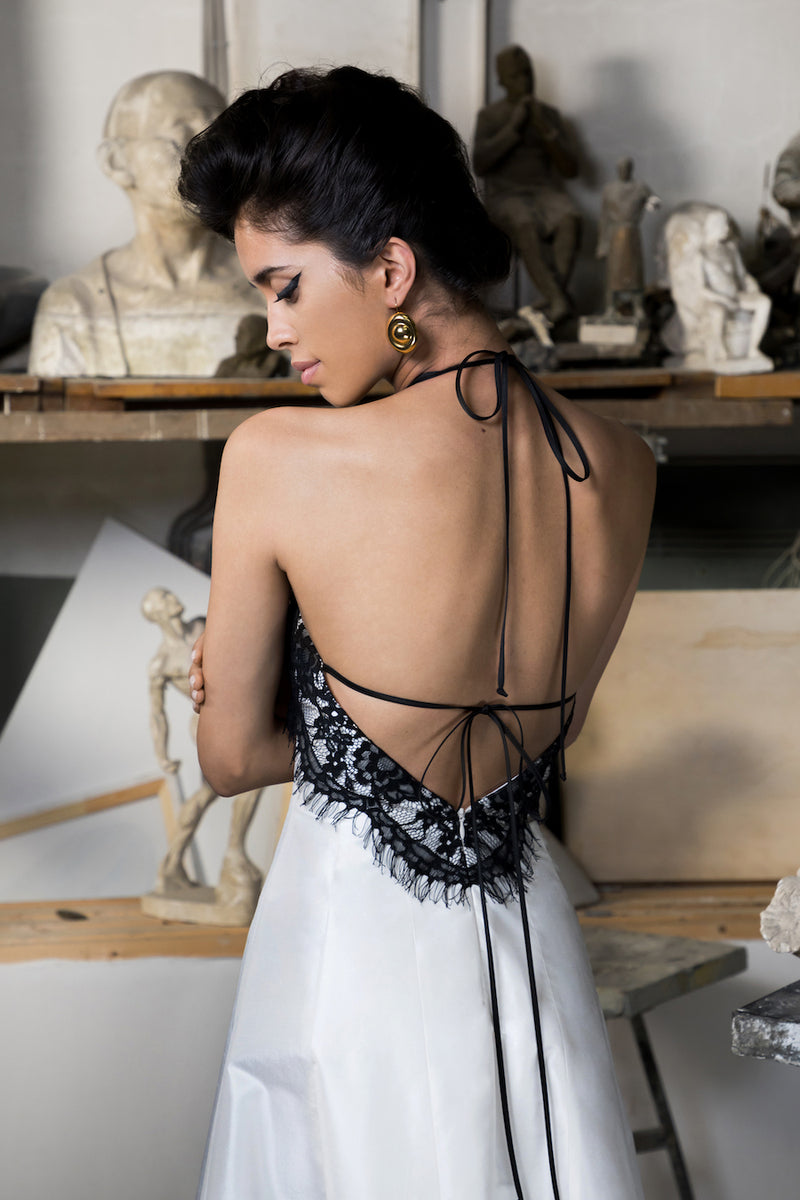 OPEN BACK SILK AND LACE MIDI DRESS