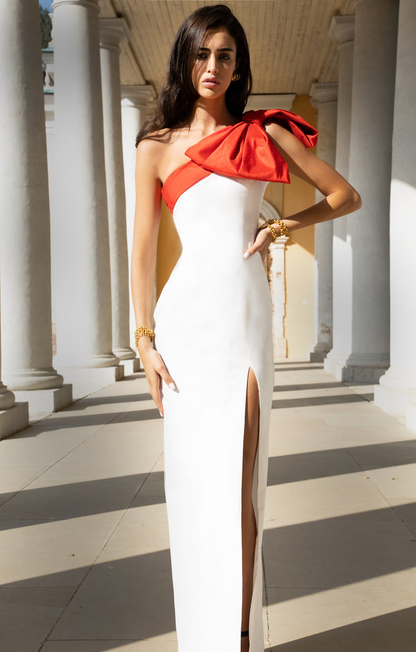 BOW-EMBELLISHED SILK GOWN