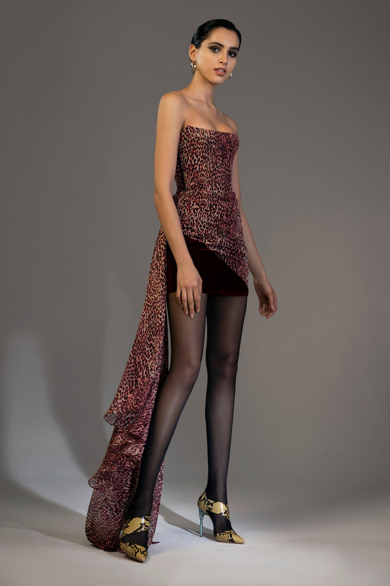 Draped Leopard-Print Chiffon and Silk Velvet Corset Mini Dress