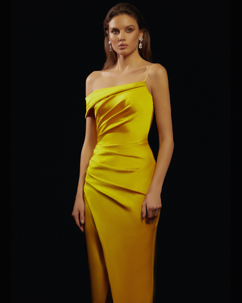 Asymmetric draped satin gown