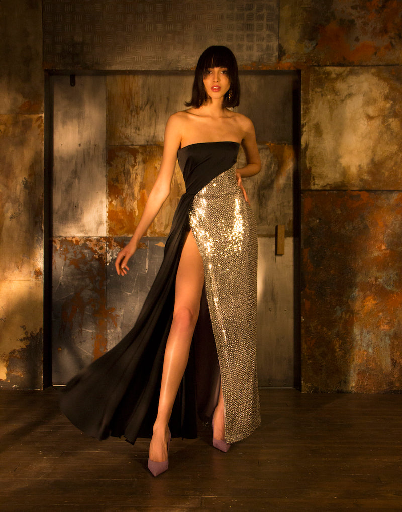 SATIN AND SEQUIN CORSET GOWN