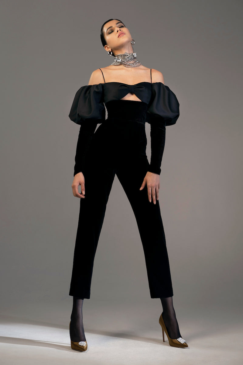 Puff Sleeve Satin and Silk Velvet Jumpsuit