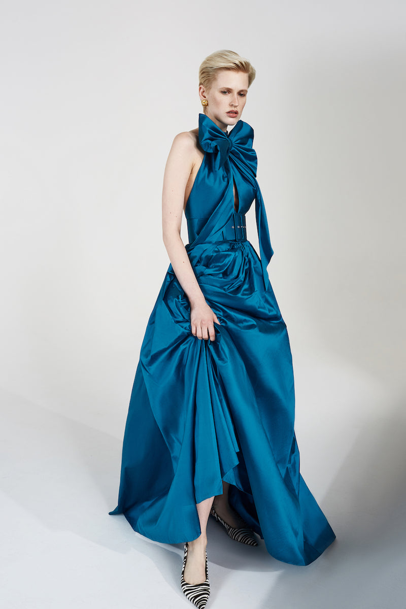 SILK GOWN WITH VOLUMINOUS SKIRT