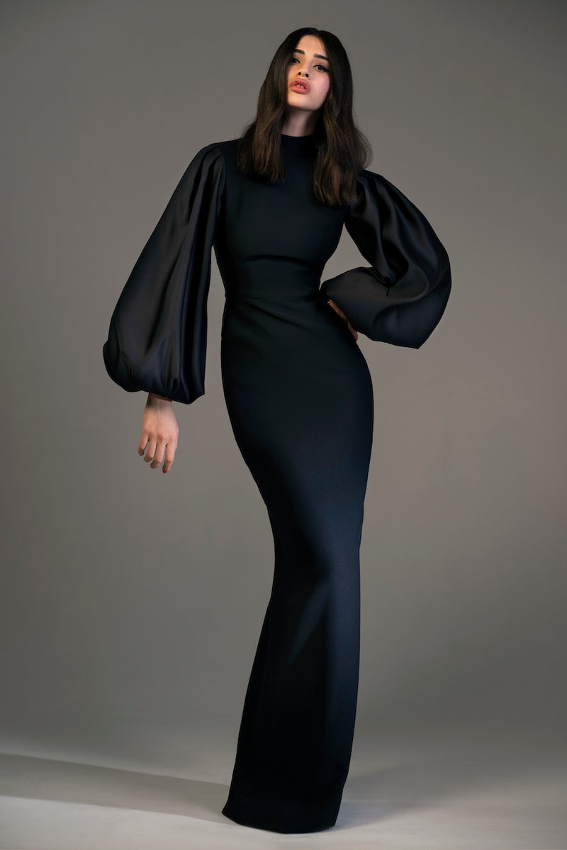 Voluminous Sleeve Crepe and Satin Gown