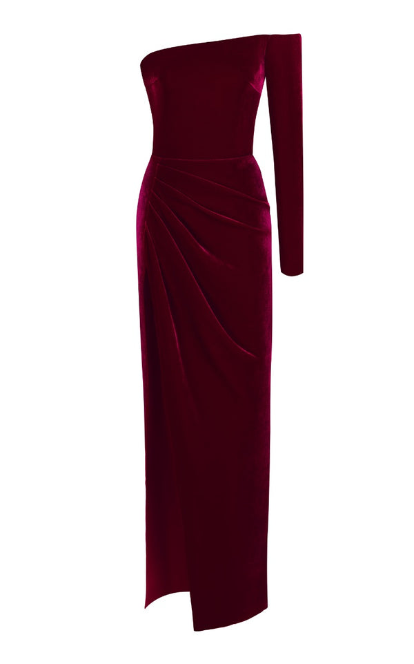 Off-the-Shoulder Silk Velvet Corset Gown