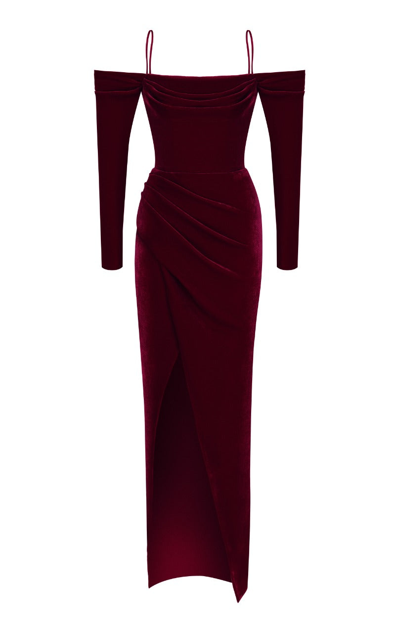 Cold-Shoulder Silk Velvet Corset Gown