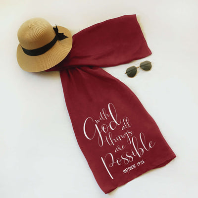 "Christian Faith Scarf - ""With man this is impossible, but with God all things are possible."" ~Matthew 19:26"