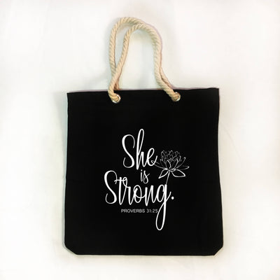 "Christian Faith Tote Bag - ""She is Clothed in Strength and Dignity and She Laughs Without Fear of The Future"" ~Proverbs 31:25"