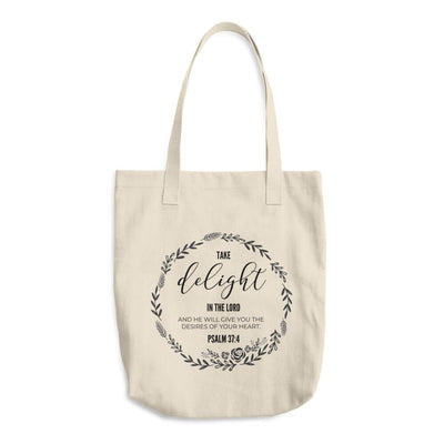 "Christian Faith Tote Bag - ""Delight yourself in the Lord and He will give you the desires of your heart."" ~Psalm 37:4"