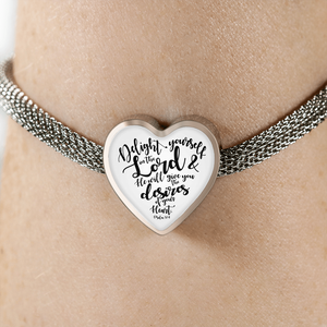 Psalm 37:4 - Heart Charm (Luxury Steel Bracelet)