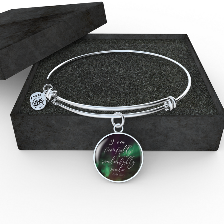 Psalm 139:14 - Circle Pendant Bangle (Aurora)