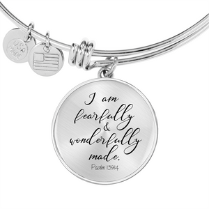 Psalm 139:14 - Circle Pendant Bangle (Plain)