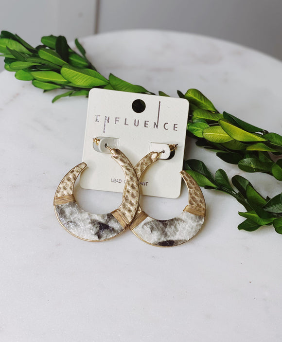 Gold and Snake Print Earrings