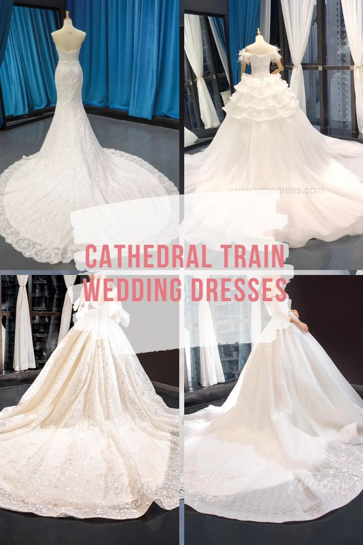 Cathedral train wedding dresses Viniodress