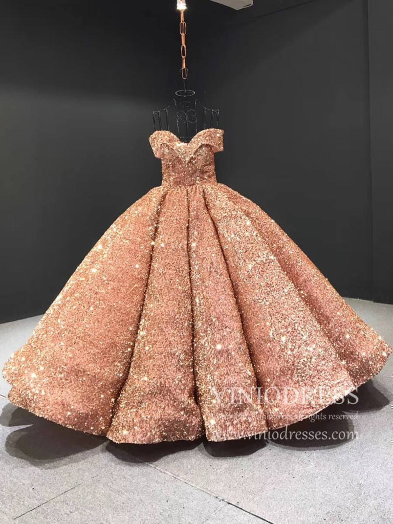 prom dresses-Couture Sparkly Sequin Ball Gown Off the Shoulder Debut Dresses FD1768-Viniodress
