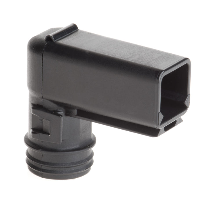 1011-230-0205 - DT Series - Backshell 2 Cavity Receptacle - Right Angle, Black