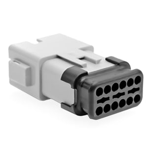 AT04-12PA-SRGRY - AT/SR01 Series -12 Pin Receptacle -  A Key, Strain Relief W/Endcap, Standard Seal, Gray