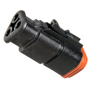 AT06-3S-SR01BLK - AT/SR01 Series - 3 Socket Plug - Strain Relief W/Endcap, Standard Seal, Black