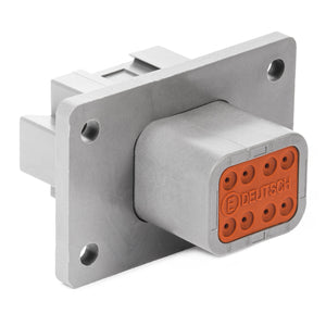 DT04-08PA-CL03 - DT Series - 8 Pin Receptacle - A Key, Welded Flange, Reduced Dia. Seals, Gray