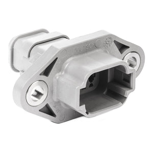 DT04-08PA-LE03 - DT Series - 8 Pin Receptacle - A Key, Sealed Flange, Shrink Boot Adapter, Gray