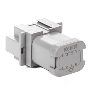 DT04-08PA-P021 - DT Series - 8 Pin Receptacle - A Key, 8 Pin Buss, Nickel Contacts, In-line, Gray