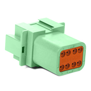DT04-08PC - DT Series - 8 Pin Receptacle - C Key, Green