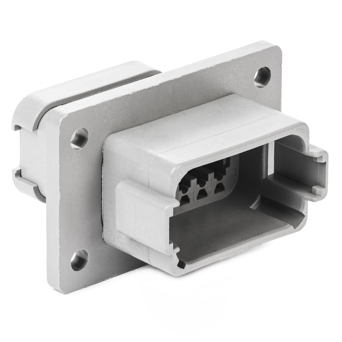 DT04-12PA-LE07 - DT Series - 12 Pin Receptacle - A Key, Welded Flange, End Cap, Gray