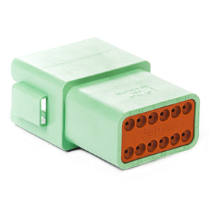 DT04-12PC-B016 - DT Series - 12 Pin Receptacle - Enhanced C Key, Green