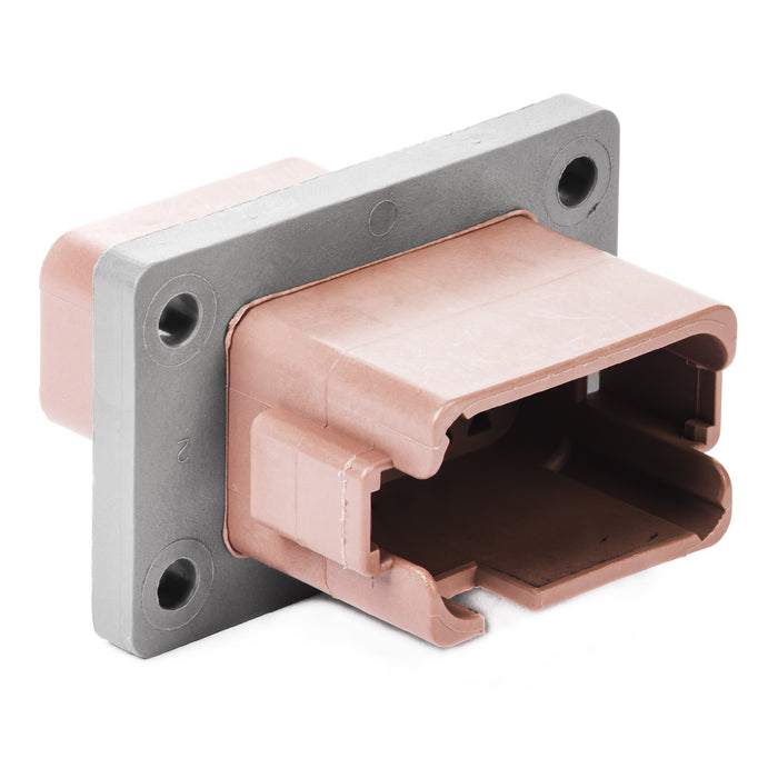 DT04-12PD-BL04 - DT Series - 12 Pin Receptacle - Enhanced D Key, Welded Flange, Brown