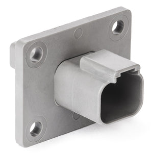 DT04-2P-L012 - DT Series -  2 Pin Receptacle - Welded Flange, Gray