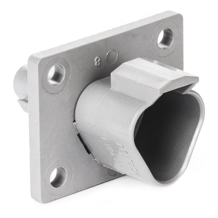 DT04-3P-L012 - DT Series - 3 Pin Receptacle - Welded Flange, Gray