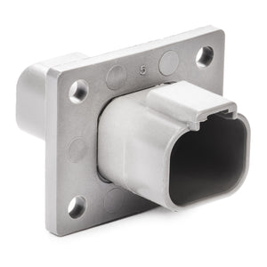 DT04-4P-CL03 - DT Series - 4 Pin Receptacle - Welded Flange, Reduced Dia. Seals, Gray