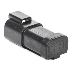 DT04-4P-EP13 - DT Series - 4 Pin Receptacle -  Wedgelock Included, 4 Pin Buss, Nickel Contacts, Black