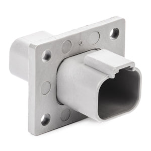DT04-4P-L012 - DT Series - 4 Pin Receptacle - Welded Flange, Gray