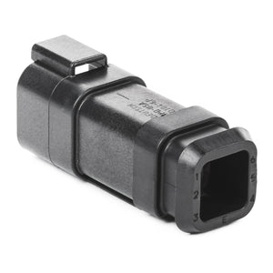 DT04-6P-CE09 - DT Series - 6 Pin Receptacle - Reduced Dia. Seal, Shrink Boot Adapter, Black