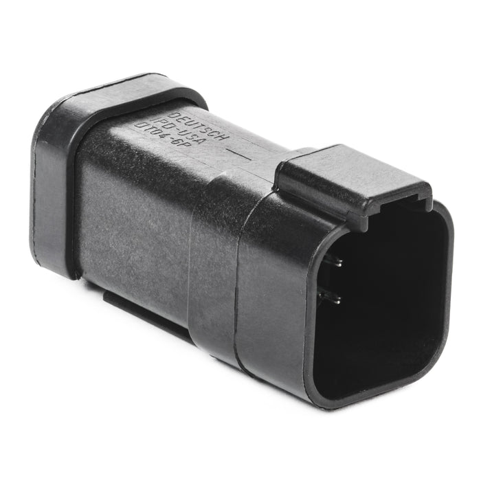 DT04-6P-EP13 - DT Series - 6 Pin Receptacle - (1) 6 Pin Buss, Nickel Contacts, Black